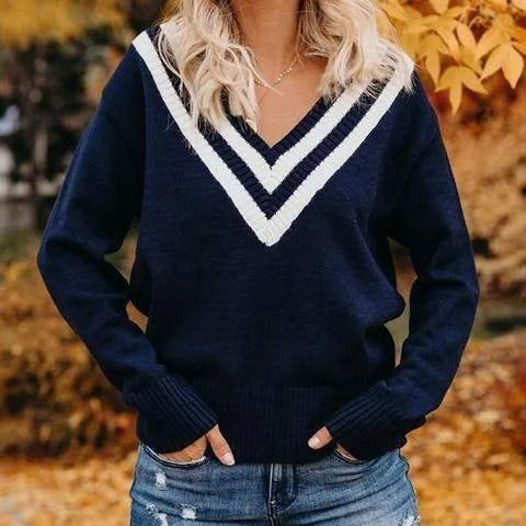 Simple Fashion V-Neck Striped Long Sleeve Sweater-Navy-S-