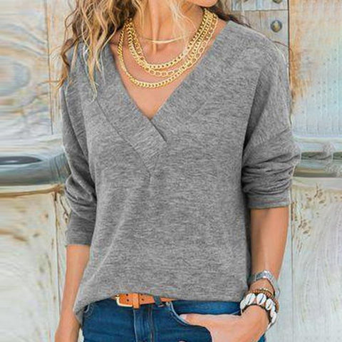 Simple Grey V-Neck Long Sleeve Top-Grey-S-