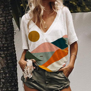 Simple Landscape Printed T-Shirt-White-S-
