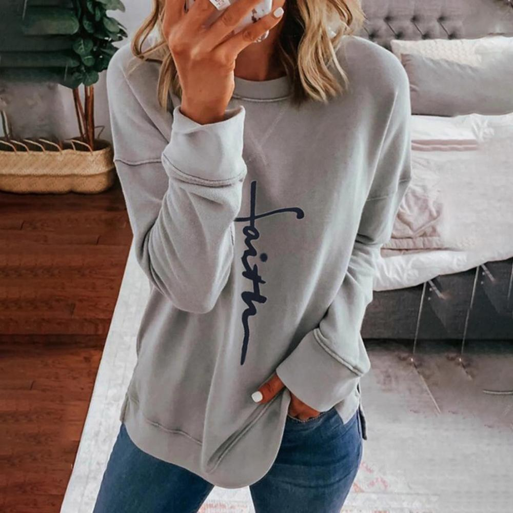Simple Letter Printed Round Neck Long Sleeve Tee-Grey-S-