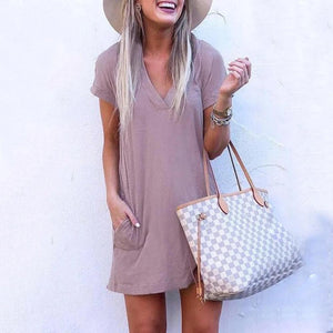 Simple Light Purple V-Neck Casual Dress-Brown-S-