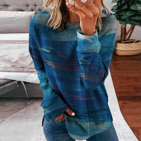 Simple Long Sleeve Printed Sweatshirt-Blue-S-