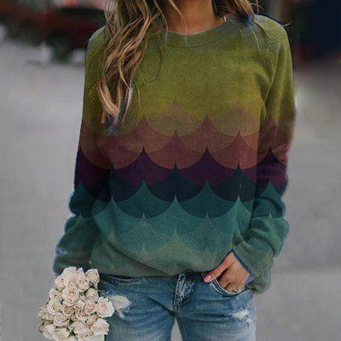 Simple Long Sleeve Printed Sweatshirt-Green-S-