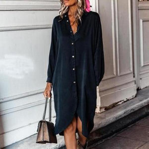 Simple Loose Long Sleeve Plain Midi Dress-Black-S-