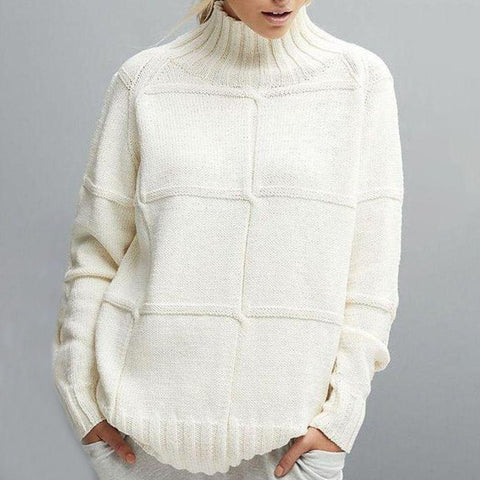 Simple Loose Plain High Neck Sweater-Creamy-white-S-