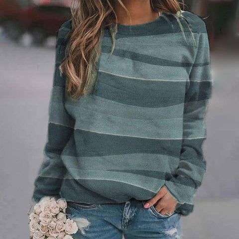 Simple Loose Printed Long Sleeve Sweatshirt-Green-S-