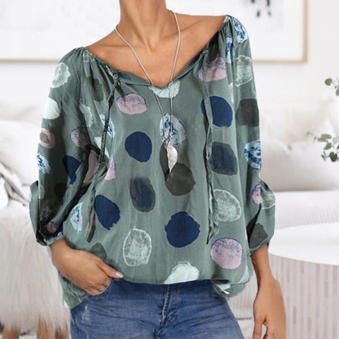 Simple Loose V-Neck Printed Blouse-Green-S-