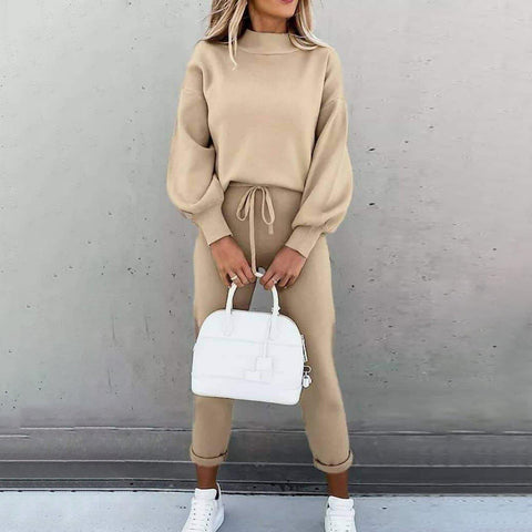 Simple Plain Long Puff Sleeve Two Piece Set-Apricot-S-
