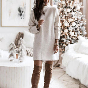 Simple Plain Long Sleeve Mini Sweater Dress-Apricot-S-