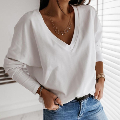 Simple Pure White V-Neck Loose Tee-White-S-