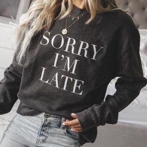 Simple Round Neck Letter Printed Sweatshirt-Black-S-