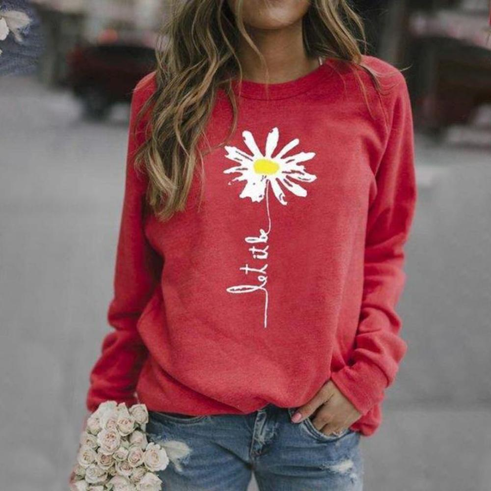 Simple Round Neck Long Sleeve Printed Sweatshirt-Red-S-