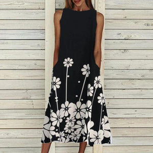 Simple Round Neck Sleeveless Floral Midi Dress-Black-S-