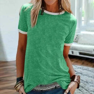 Simple Round Neck Slim Fit T-Shirt-Green-S-