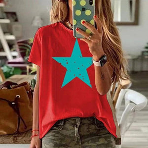 Simple Star Printed Round Neck T-Shirt-Red-S-