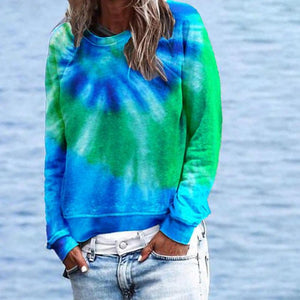 Simple Tie-Dye Round Neck Sweatshirt-Blue-S-