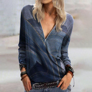 Simple V-Neck Long Sleeve Printed Tee-Blue-S-