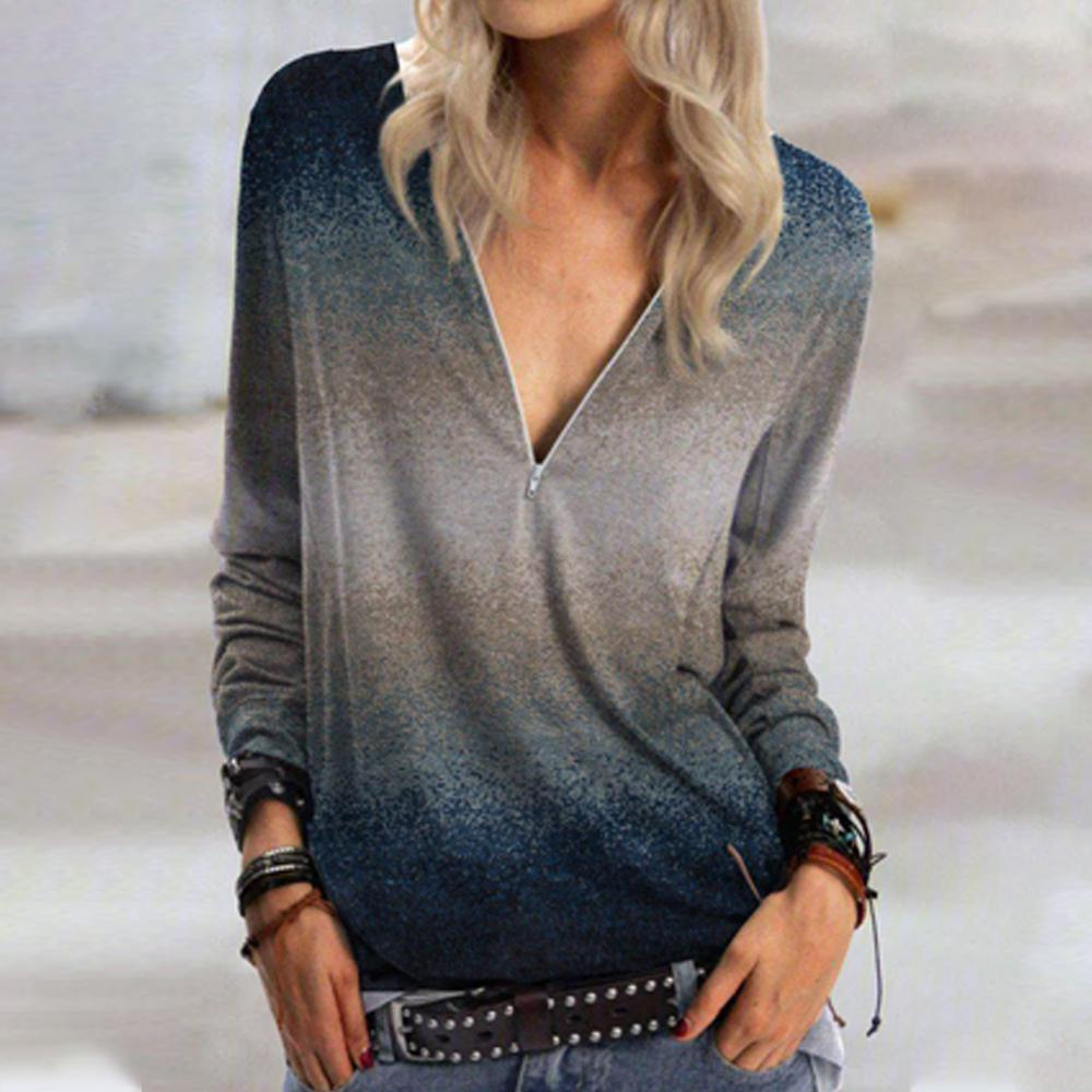 Simple V-Neck Long Sleeve Printed Tee-Multicolor-S-