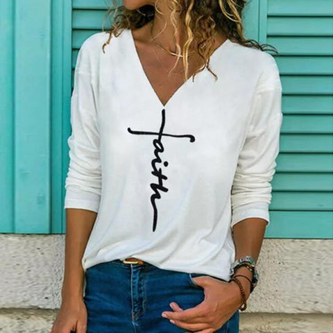 Simple V-Neck Long Sleeve Tee-White-S-