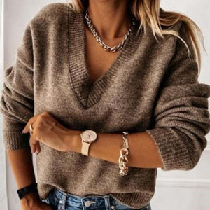 Simple V-Neck Plain Long Sleeve Sweater-Brown-S-
