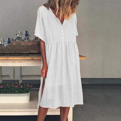 Simple White V-Neck Short Sleeve Loose Pleated Dress-White-S-