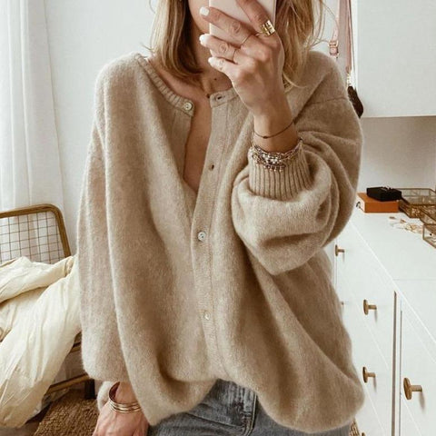 Soft and Sound Cardigan-Khaki-S-