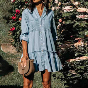 Solid 3/4 Sleeve V-Neck Splice Mini Dress-Blue-S-