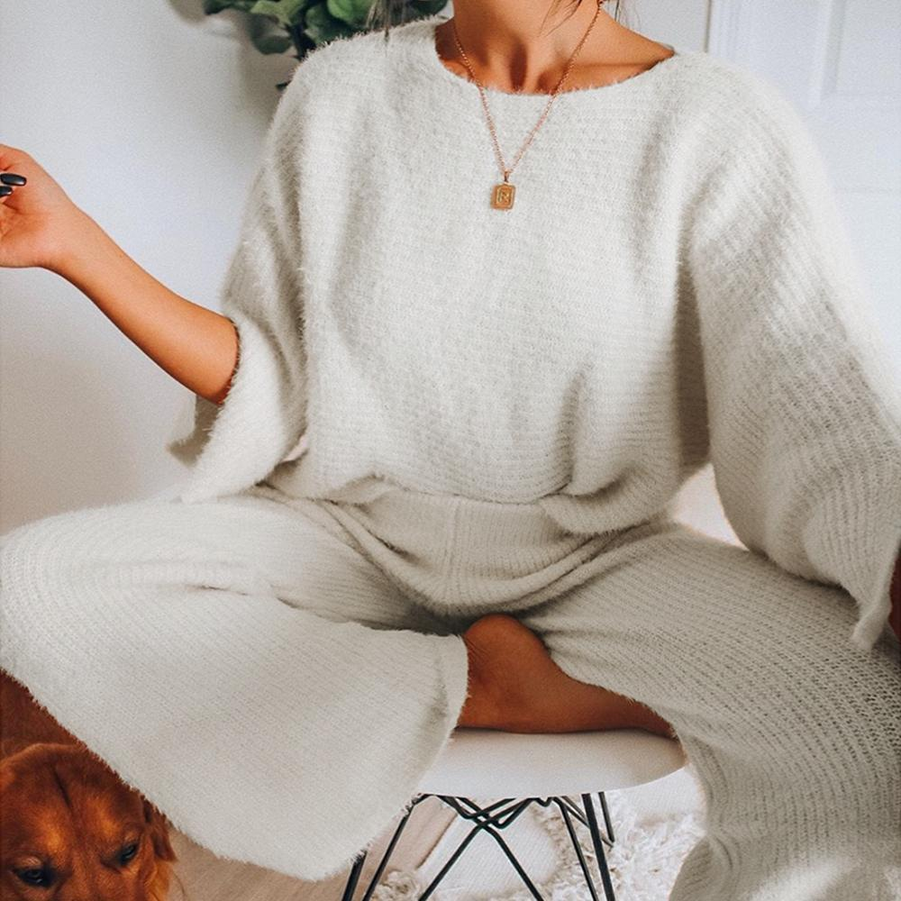 Solid Casual Long Sleeve Two-Piece Set-WHITE-S-