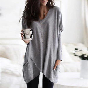 Solid Choice Pocket Top-GREY-S-