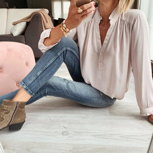 Solid Color Buttoned Long Sleeve Shirt-Apricot-S-