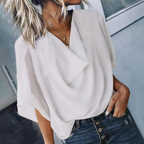 Solid Color Half Sleeve Top-White-S-