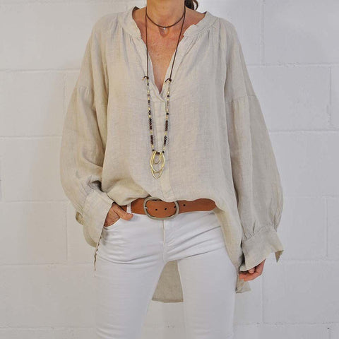 Solid Color V-Neck Long Sleeve Loose Casual Blouse-Apricot-S-