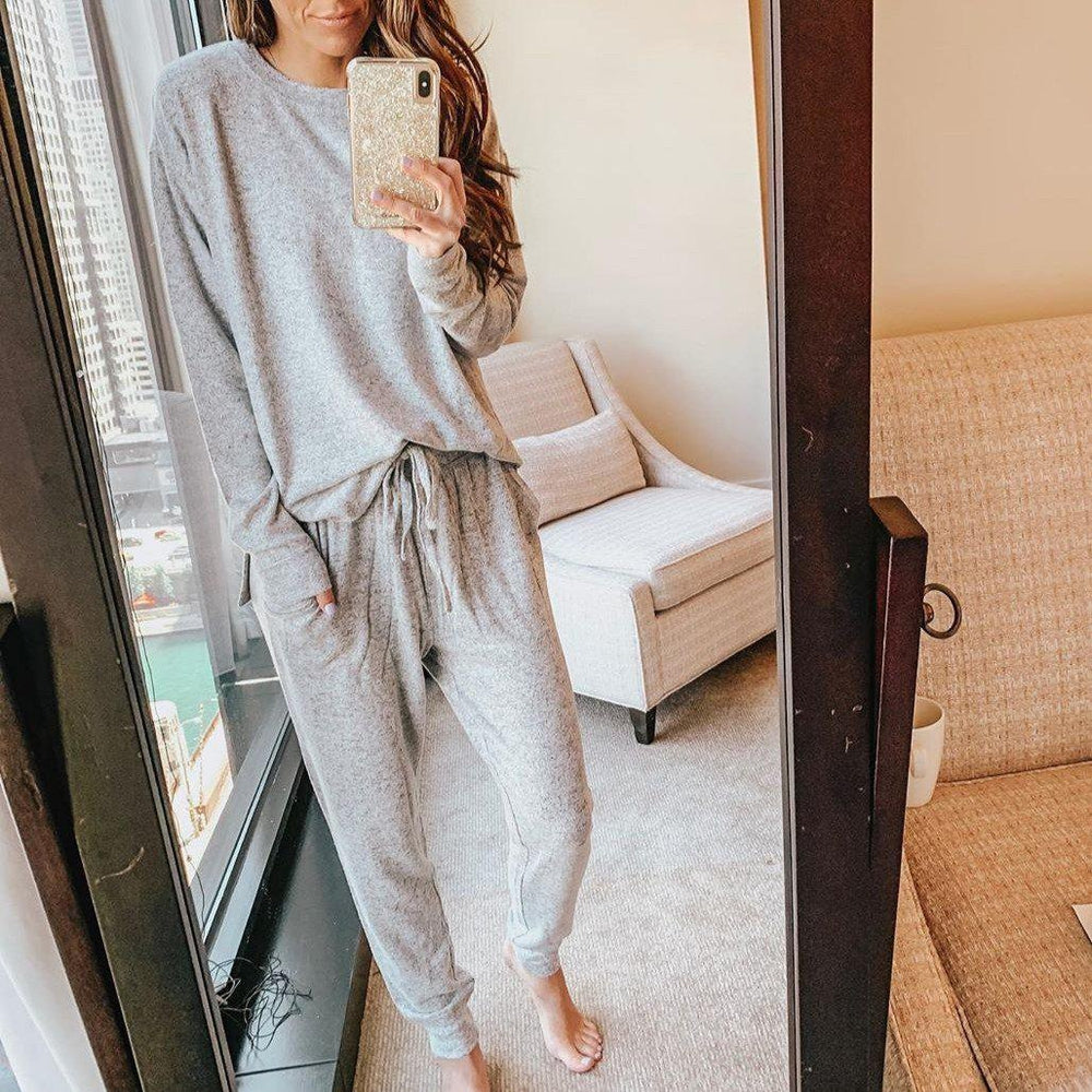 Solid Long Sleeve Pockets Lounge Set-Grey-S-