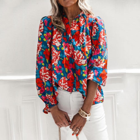 Some Kind of Wonderful Printed Blouse-Red-S-