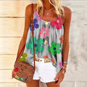 Spaghetti Straps Pleated Floral Vest-GREY-S-