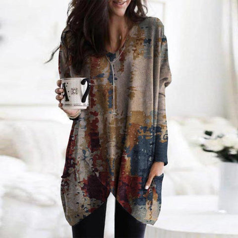 Special Asymmetric Hem Long Sleeve Print Tee-Multicolor-S-