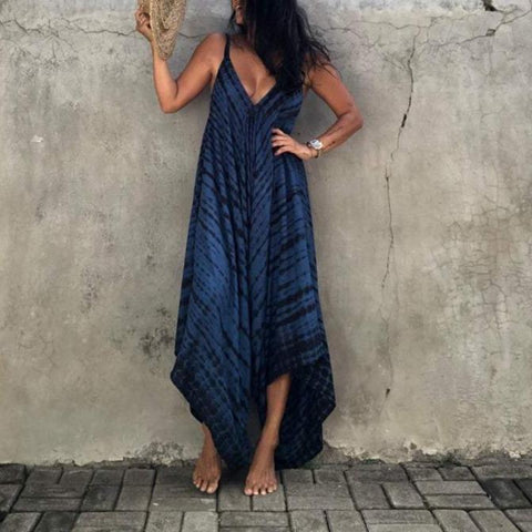Special Print Sleeveless Loose V-Neck Jumpsuit-Navy-S-