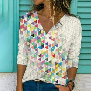 Special Print V-Neck Long Sleeve Tee-Ivory-S-