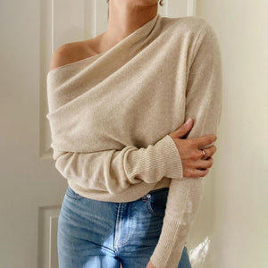 Special Scoop Neck Long Sleeve Sweater Top-Apricot-S-