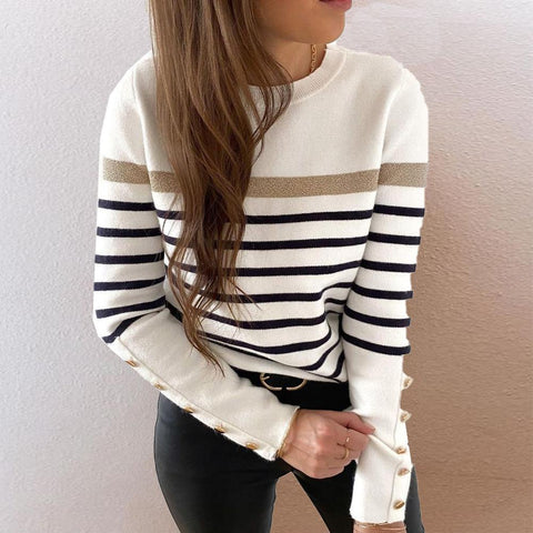 Special Striped Print Round Neck Long Sleeve Sweater-Black and White-S-