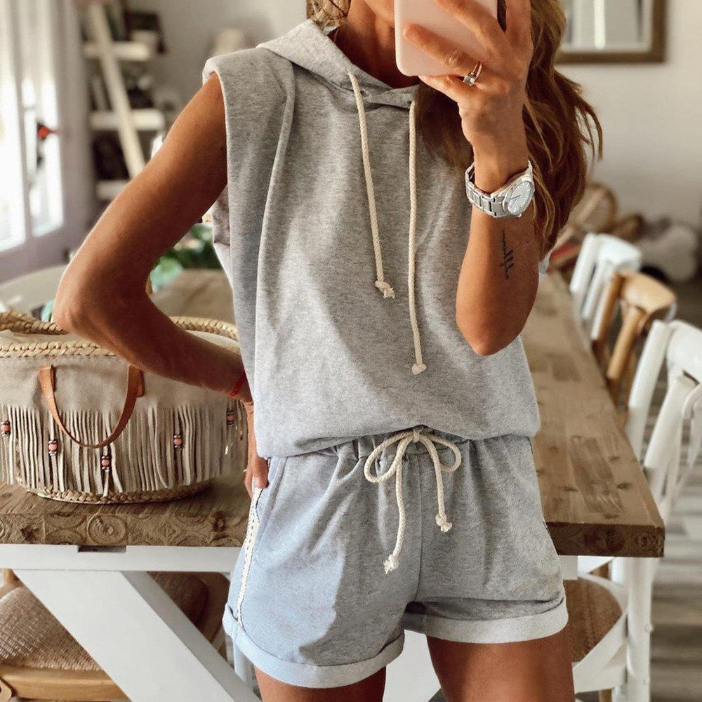Sporty Grey Hoodie Sleeveless Two Piece Set-Grey-S-