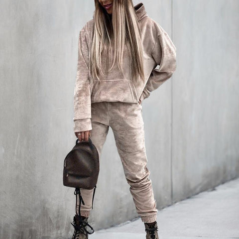 Sporty Loose Long Sleeve Hoodie Two Piece Set-Taupe-S-