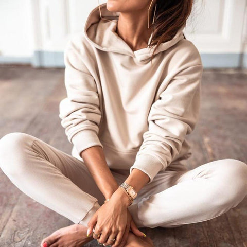 Sporty Plain Long Sleeve Hoodie Lounge Set-Ivory-S-