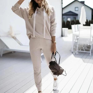 Sporty Plain Long Sleeve Hoodie Two Piece Set-Apricot-S-