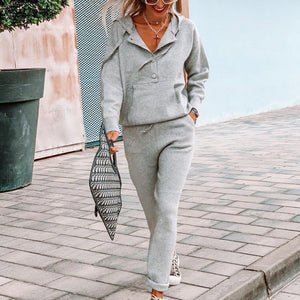 Sporty Plain Long Sleeve Two Piece Set-Grey-S-