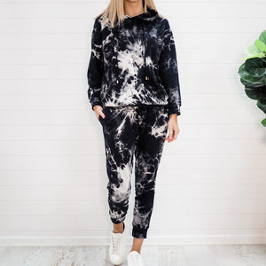 Sporty Print Long Sleeve Two Piece Set-Black-S-