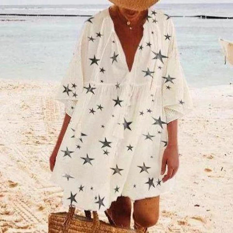 Star Printed Cover-up Dress-White-S-