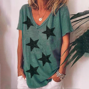 Star Printed Short Sleeve Tee-Green-S-