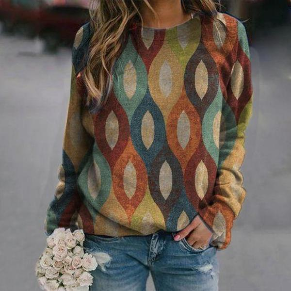 Stay Connected Printed Sweatshirt-Multicolor-S-