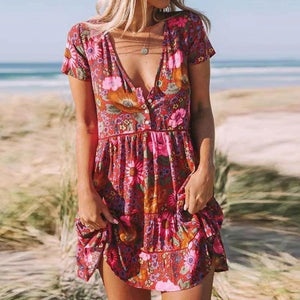 Stay Sweet Floral Print Mini Dress-Burgundy-S-